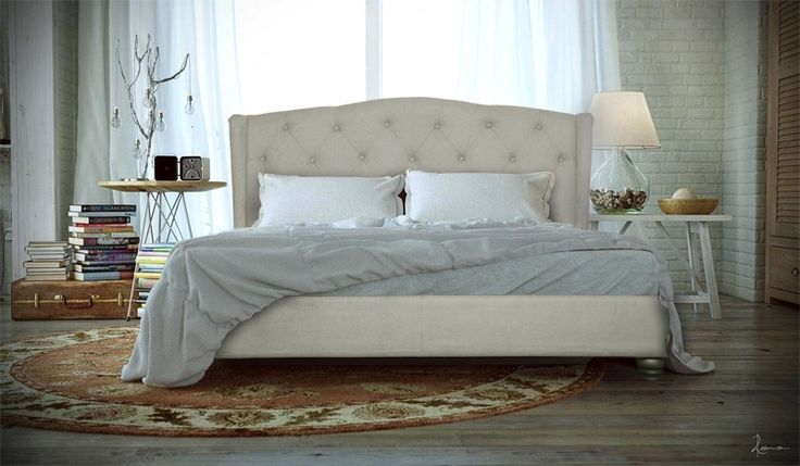 King Size Upholstered Fabric Bed Frame (French Provincial Wing Collection, Beige)