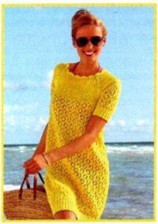 Стильное солнечное платье спицами - схемы вязания, фото, описание