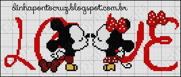 Dinha Ponto Cruz: Gráficos especias Mickey e Minnie em ponto cruz