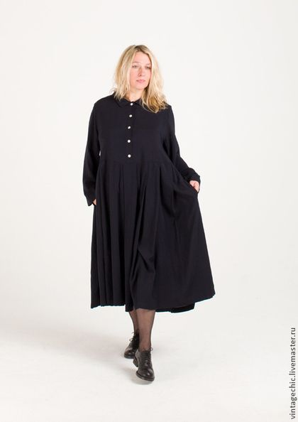 Платья ручной работы. Заказать Милое платье из синей вискозы SARTA-011a. MUHA. Ярмарка Мастеров. Винтаж, классический стиль