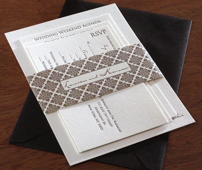 Stunning black tie wedding invitation set with matching classic belly band.  | Invitations by Ajalon | invitationsbyajalon.com