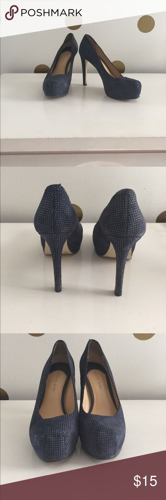 Gianni Bini Navy Suede Platform Pumps! Size 9M! Navy Suede Platform Pumps with Small, White Polka Dot Pattern throughout. Signs of normal wear, but in really good condition! Gianni Bini Shoes Heels