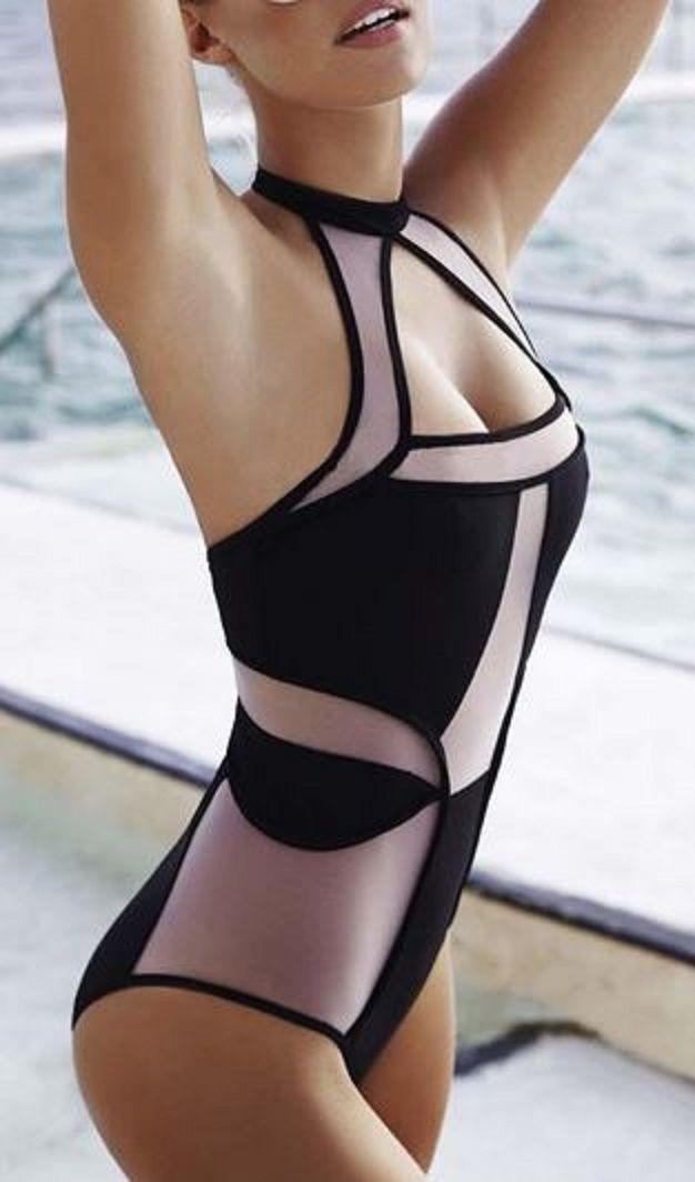 oceanfront_1pc; oceanfront_high neck; oceanfront_color block Love this Swimsuit Design! Voile Spliced Hollow Halter One-Piece Swimwear
