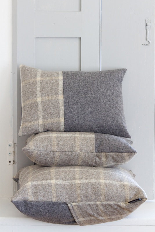 Couthie handmade tweed cushions in stoney grey.