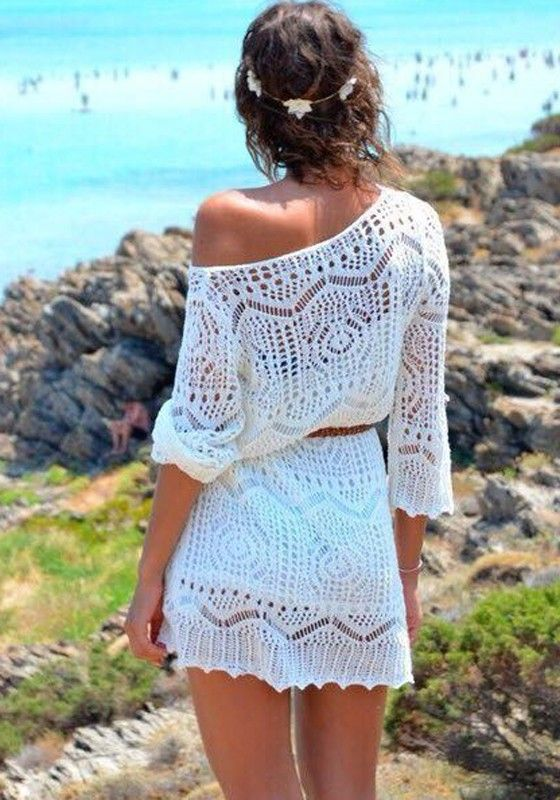 White Plain Hollow-out 3/4 Sleeve Knit Lace Dress - Dresses
