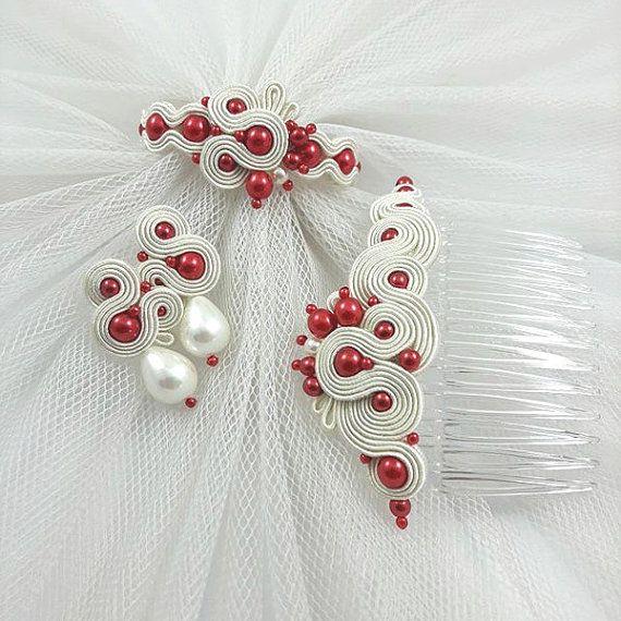 Set di gioielli da sposa avorio rosso. Soutache di byPiLLowDesign