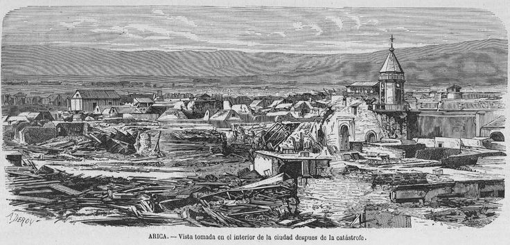Grabado Arica despues del terremoto y tsunamo 1868. Revista española 3
