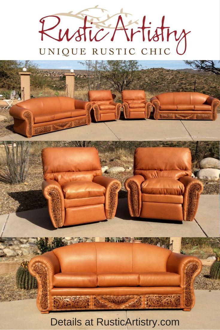 Tooled Leather Sofa - Western Sofa - RusticArtistry.com ...
