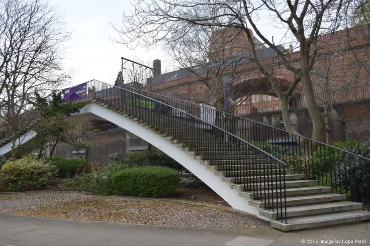 Stairs and walkway connecting the main UMIST campus with the Sackville Street building.
