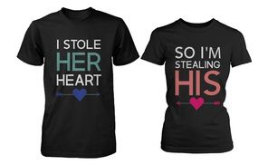 Groupon - His and Her Matching T-Shirts for Couples - I Stole Her Heart, So I'm Stealing His for Valentines Day and Anniversary in [missing {{location}} value]. Groupon deal price: $31.34