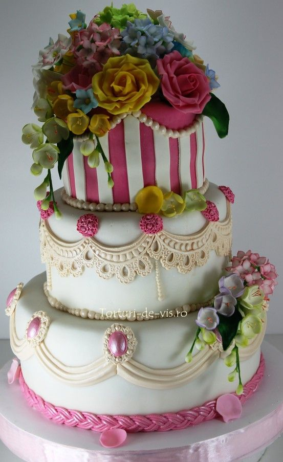 .All the work this is truly a master piece the flowers the lace each layer is different I wish I could design a cake flowers on top not stripes pearls and lace boarders and some flowers around the bottom would be lovely.
