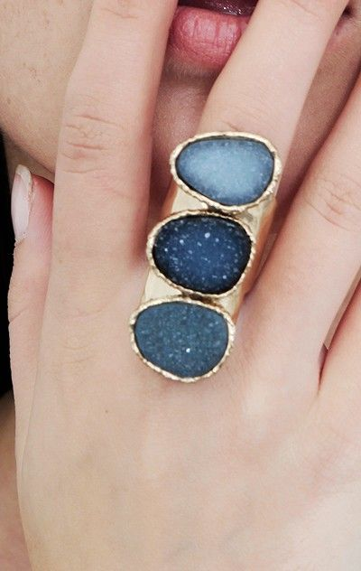Shades of blue statement ring
