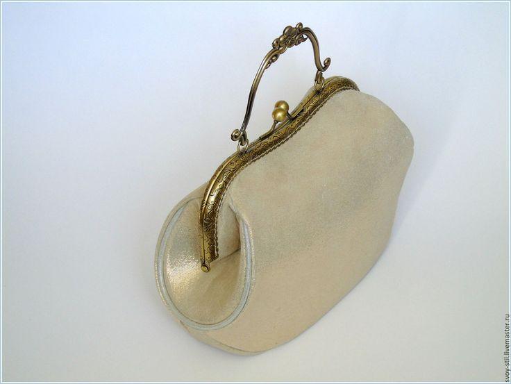 Купить Сумочка с фермуаром Золотой век - золотой, вечерняя сумочка, золотая сумочка, сумочка из замши