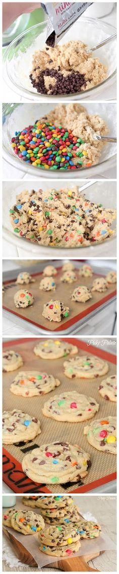 How To Make Perfect M n M Cookies- add vanilla pudding to get soft, chewy cookies! Something new to stick in the cookie tin! :)