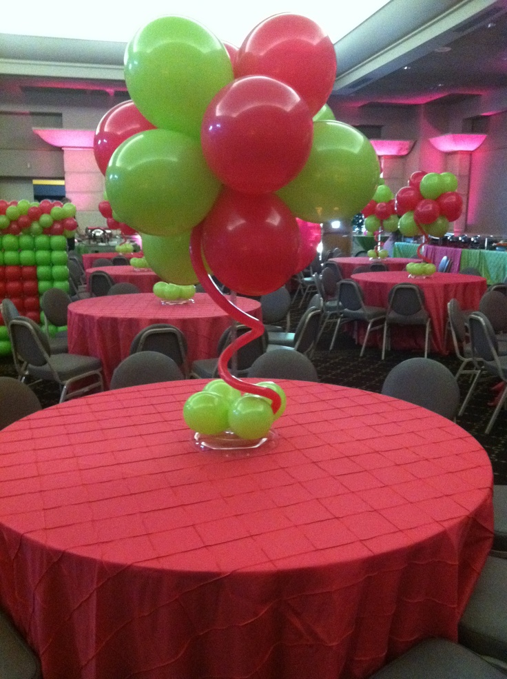 Pink and green balloon cluster centerpiece balloons for Balloon cluster decoration
