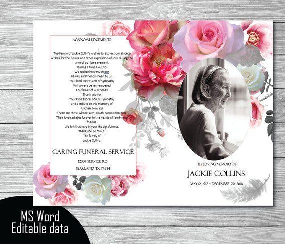 25 funeral card template images diy funeral program template