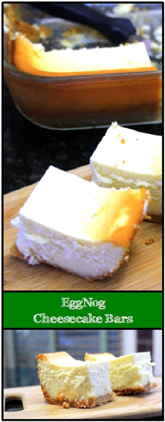 EggNog Cheesecake Bars - Church PotLuck Dessert... OH BOY, a new favorite CheeseCake!!! Puffs up beautifully, Creamy Sweet with a smell and lingering taste of Christmas that you can have YEAR ROUND!