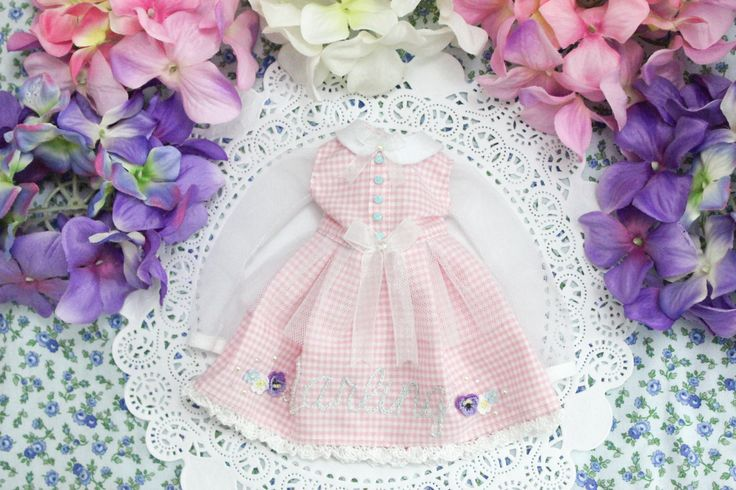 Pink White Pastel Long Sleeve Darling BJD Dress  - [ Unoa / Minifee / Narae / Slim MSD ] by cafelait on Etsy