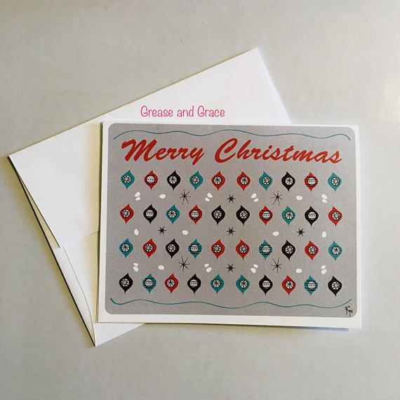 Christmas Card Holiday Card Retro Card Mid Century