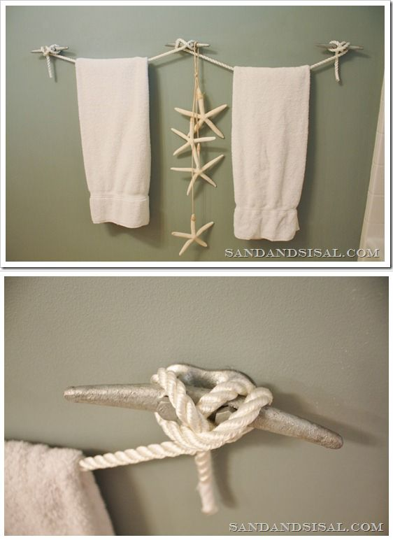 Boat kleet towel hangers for nautical bathroom boats for How to tie towels in bathroom