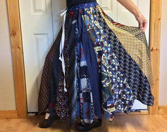 Gerecycled stropdas rok/Plus Size rok/lange rok/Silk Rok/Tie rok/Mens stropdassen/Upcycled voorzien/rokken voor vrouwen/grootte groot voor XL