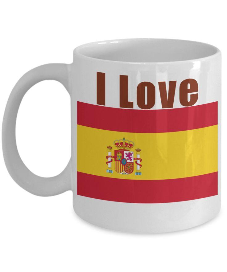 I Love Spain Coffee Mug With A Flag