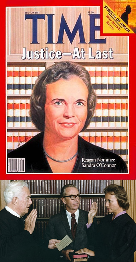 Sept. 25, 1981: Sandra Day O'Connor is the first woman to be sworn in as a Supreme Court Justice by Chief Justice Warren Burger, as her husband John O'Connor looks on.