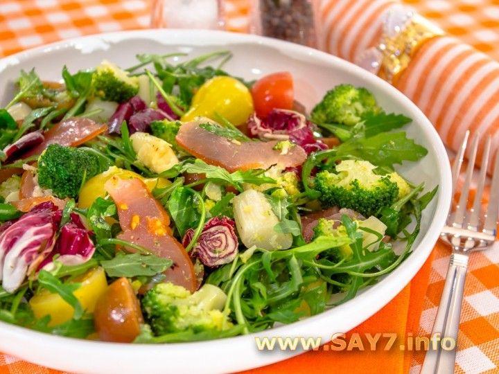 Салат со спаржей, брокколи и карпаччо