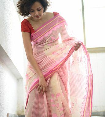 White light pink applique cotton by Suta - PC12111
