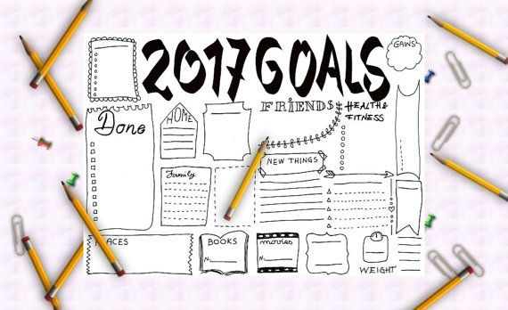 2017 goals journal printable planner agenda journaling layout template office home organizer work notebook journal download lasoffittadiste