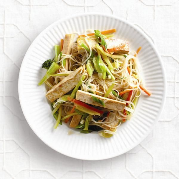 One-dish Asian noodles for Meatless Monday Tofu and broccoli sit on a sweet-soy bed of light vermicelli or glass noodles in this easy and healthy one-dish Asian noodles with tofu recipe.