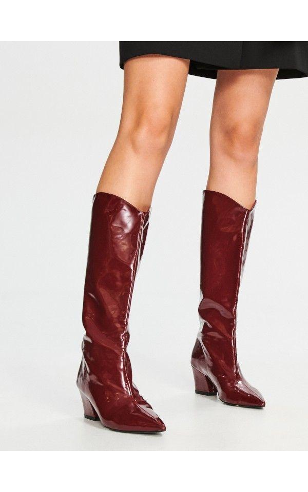Lakierowane Kozaki Buty Bordowy Reserved Patent Boots Boots Riding Boots