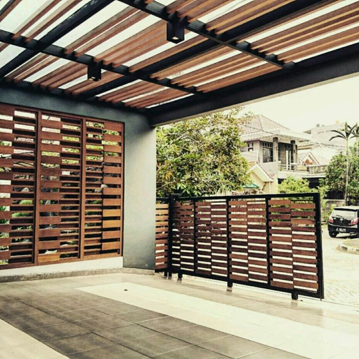 Carport with wooden shades