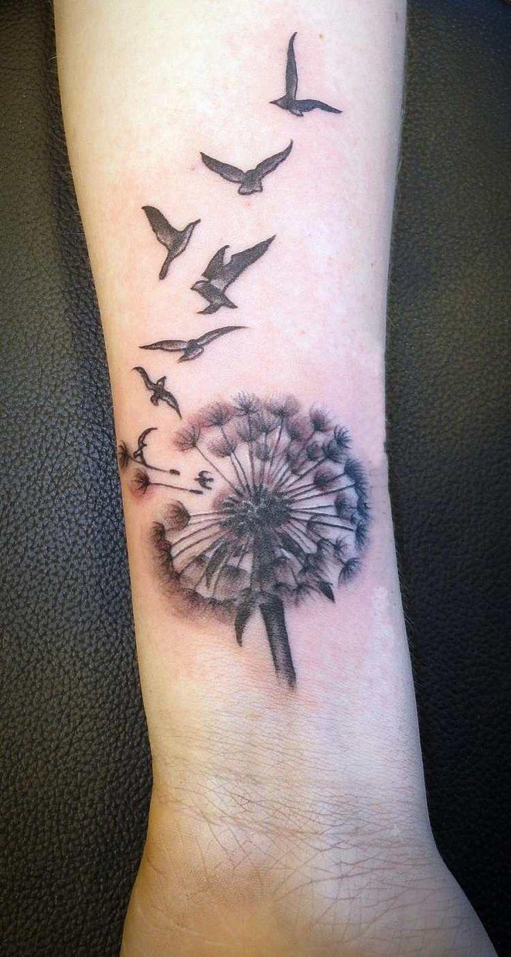 tatouage poignet femme: dent-de-delion et oiseaux