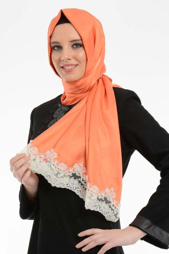 Orange scarf orange coral hijab white lace ends by NevaStyleCanada