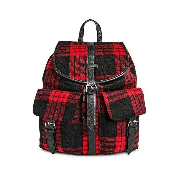 Under One Sky Women's Backpack Handbag with Plaid Design ($30) ❤ liked on Polyvore featuring bags, backpacks, red, plaid backpack, red plaid backpack, plaid bag, day pack backpack and tartan bag