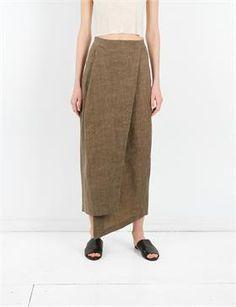 Creatures of Comfort Izak Skirt - Oiled Linen Olive