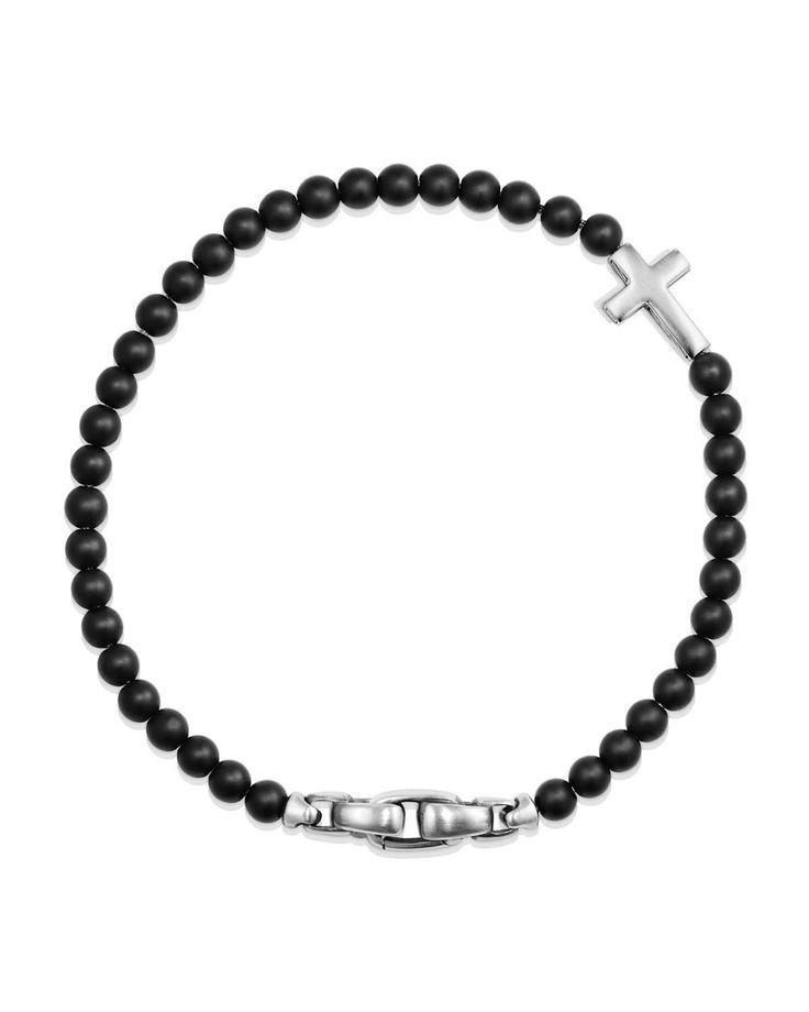 David Yurman Men's Cross Station Bead Bracelet in Black