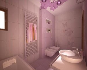 Purple Bathroom with Butterfly Accents