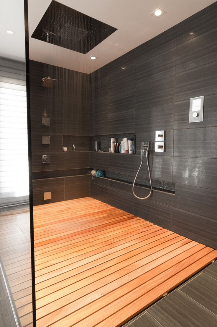 Contemporary Master Bathroom With Frameless Showerdoor, Rain Shower, Master  Bathroom, Handheld Showerhead, Teak Shower Tray