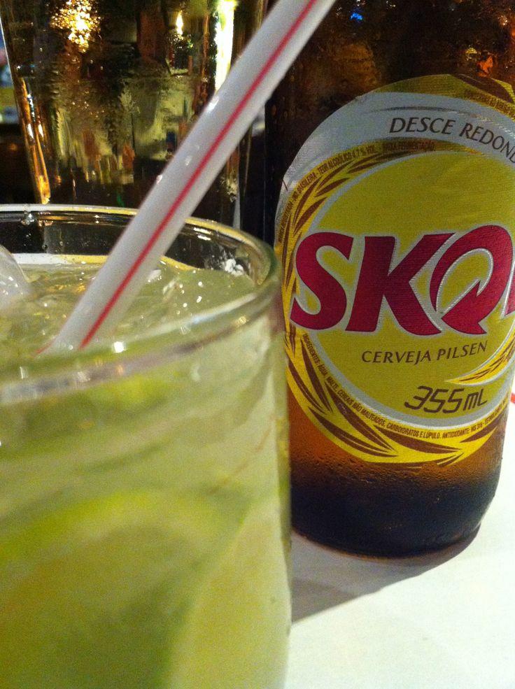 First night in Rio de Janeiro! Caipirinha and Skol at Garota de Ipanema restaurant/bar.