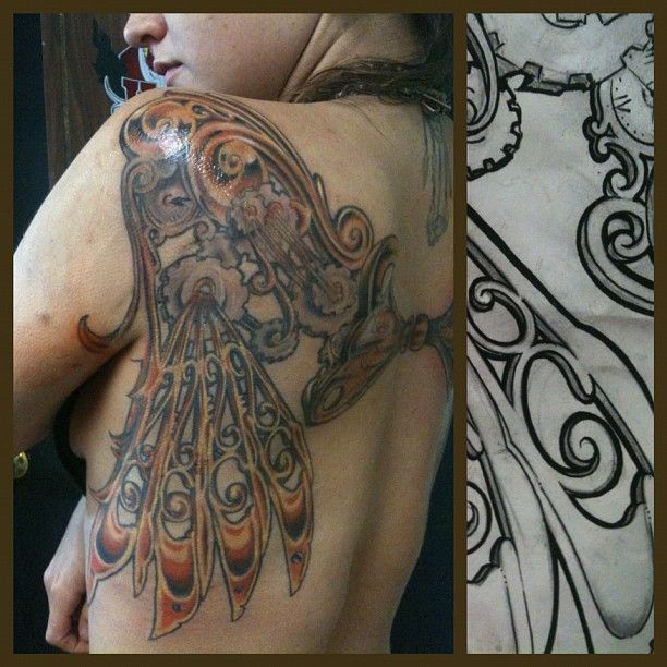 my friend's steampunk wings, tattoo by charles berger. - Imgur