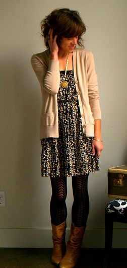 cute patterned dress with patterned leggings