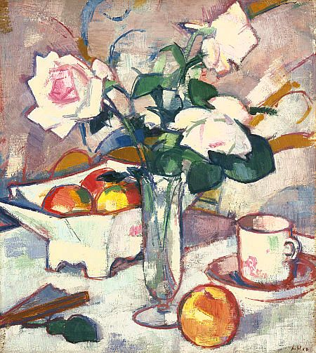 Samuel John Peploe Still Life with Roses and Fan circa 1920