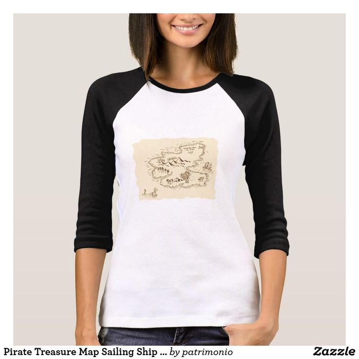 Pirate Treasure Map Sailing Ship Drawing. Ladies black and white long sleeve t-shirt showing a sketch style illustration of a pirate treasure map and sailing ship set on isolated background. #treasuremap #map #tshirt