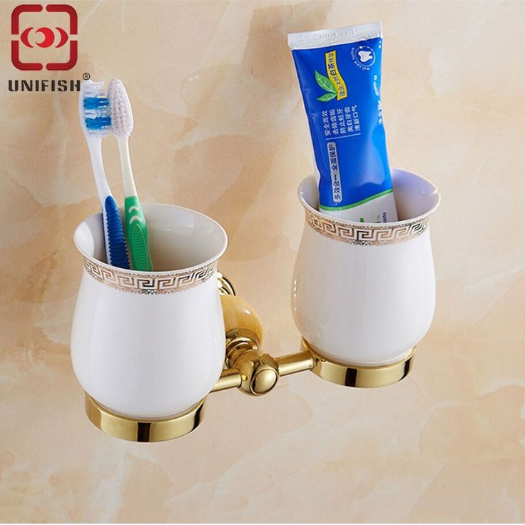 (36.04$)  Buy here  - UniFish Wall Mounted Brass Gold Two Cups Bathroom Toothbrush Holder Gargle Tumbler Modern Style Daily Supplies Toothbrush Holder