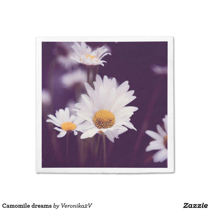 Camomile dreams paper napkin. photo, photography, artwork, buy, sale, gift ideas, camomile, flowers, divination, love, violet, purple, liliac, white, dreams, bright, colorful, glow, petals, dark, home, home decor, comfort