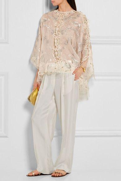 Biyan | Seoul lace-trimmed embellished silk-organza top | NET-A-PORTER.COM