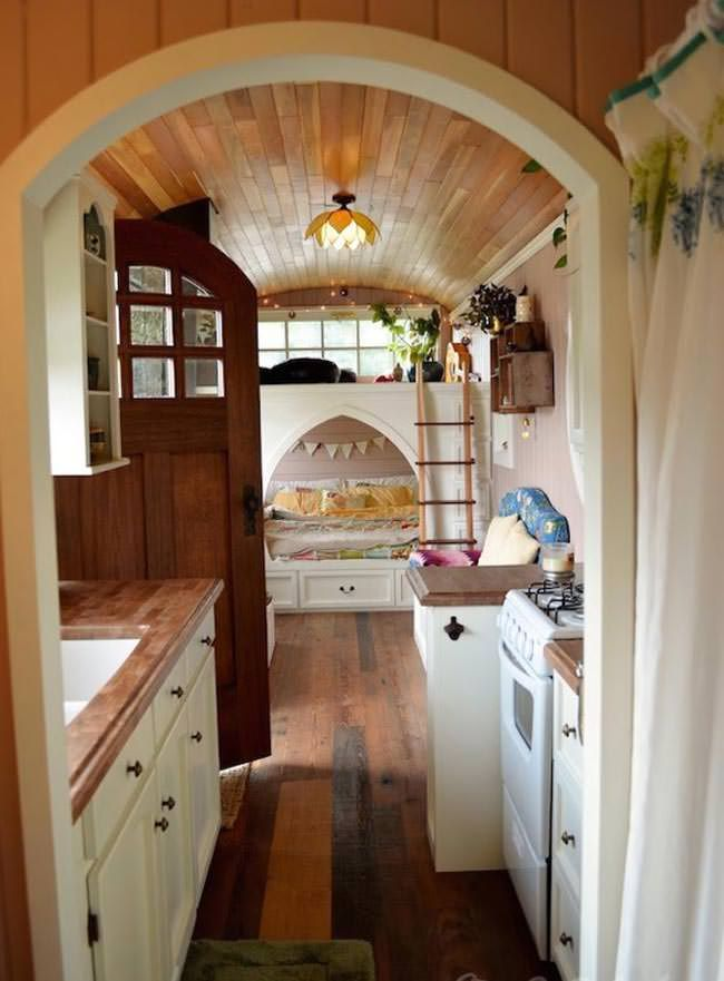 A school bus turned into a cosy home e