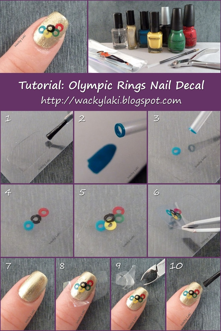 'Olympic Rings Nail Decal' by Anutka. Good instructions on creating your own…